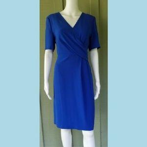 ELIE TAHARI Royal Blue Swoop Sheath Dress 10